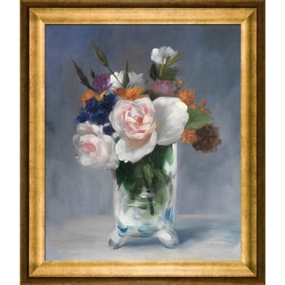 Edouard Manet Flowers in a Crystal Vase Hand Painted Framed Canvas Art