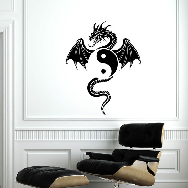 Yin Yang Dragon Vinyl Sticker Wall Art - Free Shipping On Orders ...