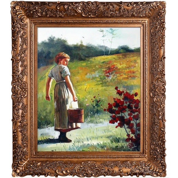 Winslow Homer 'Returning From The Spring' Hand Painted Framed Canvas Art