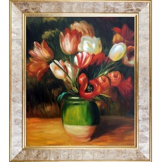 Pierre-Auguste Renoir 'Tulips in a Vase' Hand Painted Framed Canvas Art