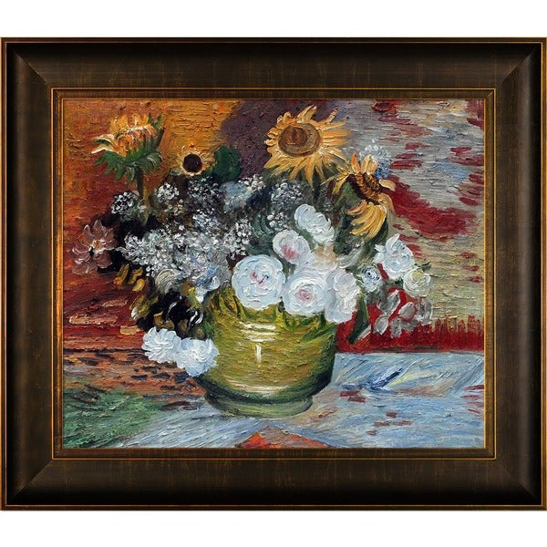 Vincent Van Gogh 'Sunflowers, Roses and Other Flowers' Hand Painted Framed Canvas Art