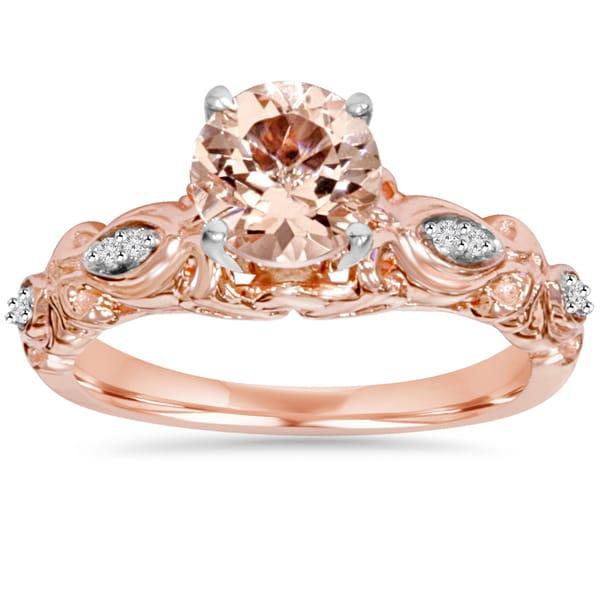 Bliss Engagement 14k Rose Gold 1/ 16 ct TDW Morganite and Diamond Vintage Ring (I-J, I2-I3)