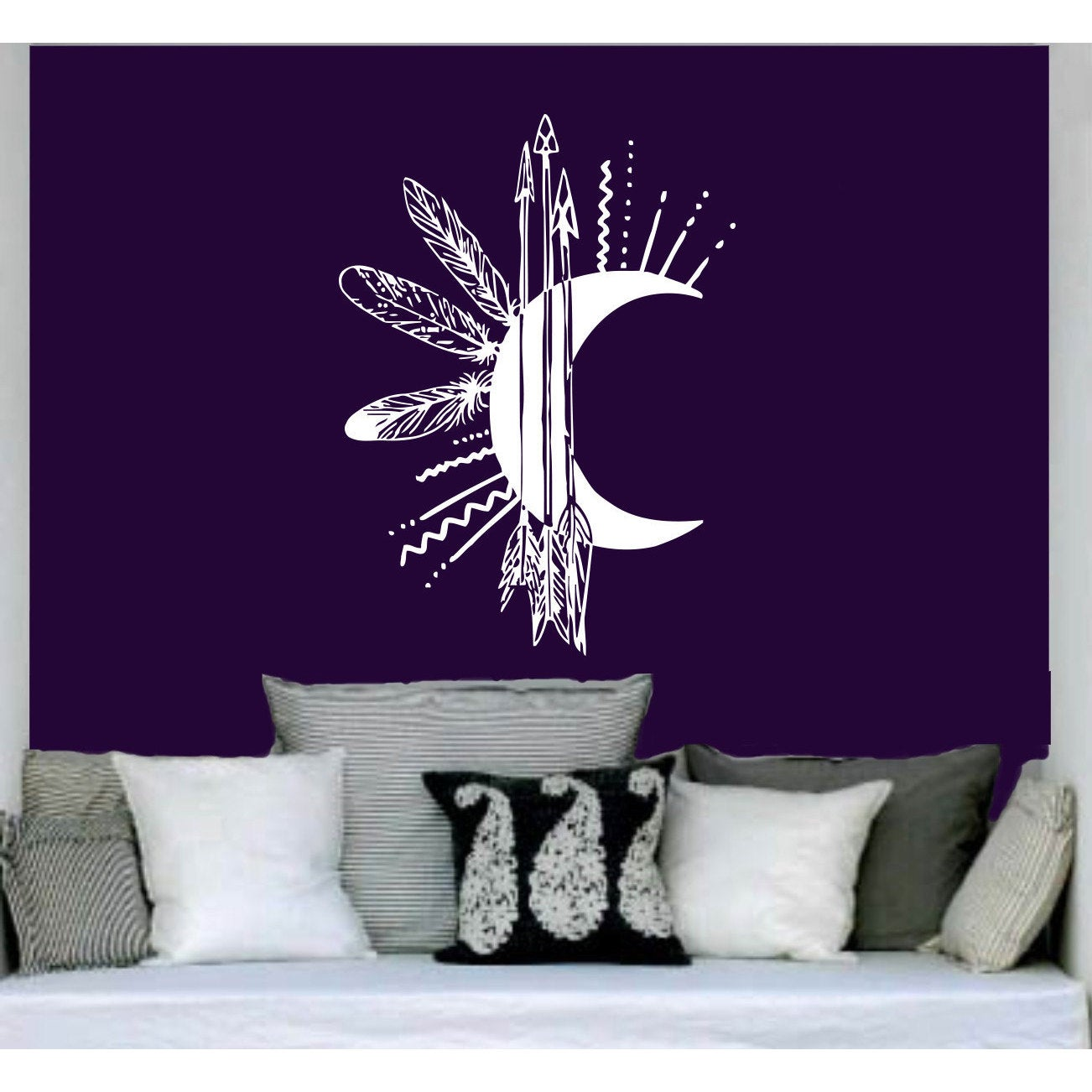 Moon Arrows Feathers Vinyl Sticker Wall Art (35 inches x ...