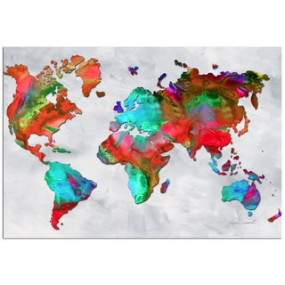 Megan Duncanson 'The Beauty of Color v2.5' Colorful Modern World Map Painting Giclée on Metal