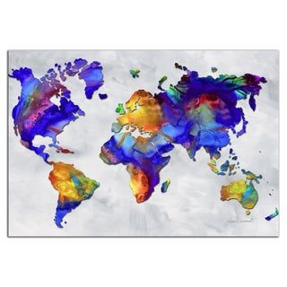 Megan Duncanson 'The Beauty of Color v2.4' Colorful Modern World Map Painting Giclée on Metal