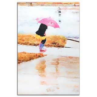 Metal Art Studio 'Pink Umbrella' Contemporary Watercolor Painting Giclée on Metal