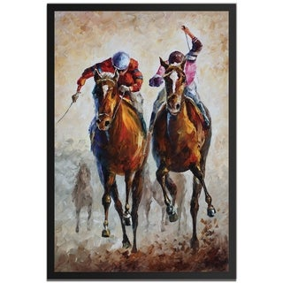 Leonid Afremov 'Contenders' Colorful Abstract Horse Race Painting Giclée on Metal