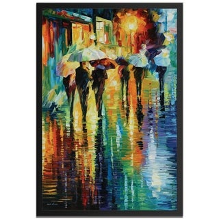 Leonid Afremov 'Rainy-Etude' Colorful Contemporary Art Giclée on Metal