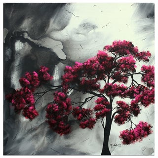 Megan Duncanson 'Pink Passion' Gray and Pink Contempoarary Landscape Painting Giclée on Metal