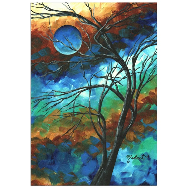 Megan Duncanson 'Mystery of the Moon' Colorful Modern Landscape Painting Giclée on Metal