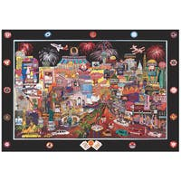 Roxy  'Las Vegas' Colorful and Playful Modern Cityscape Painting Giclée on Metal