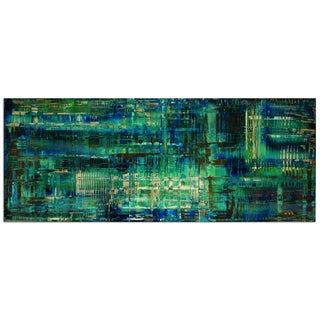 Nicholas Yust 'Aporia Blue' Colorful Modern Painting Giclée on Metal