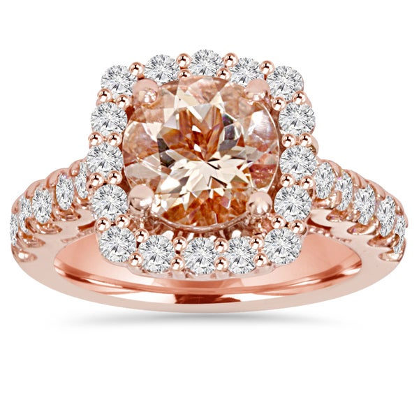 Bliss 14k Rose Gold 1 ct TDW Morganite and Diamond Cushion Halo Engagement Ring (I-J, I2-I3)