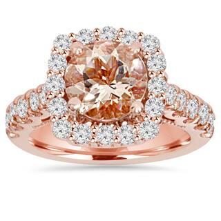 Bliss 14k Rose Gold 1 ct TDW Morganite and Diamond Cushion Halo Engagement Ring (I-J, I2-I3)|https://ak1.ostkcdn.com/images/products/10283132/P17398266.jpg?impolicy=medium