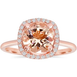 Bliss Engagement 14k Rose Gold 1/8 ct TDW Morganite and Diamond Cushion Halo Ring (I-J, I2-I3)