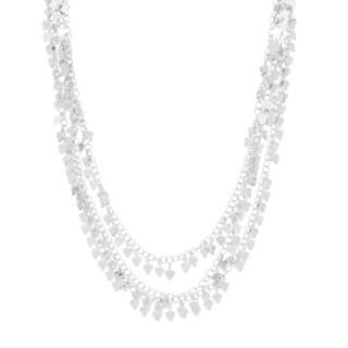 Sterling Essentials Silver Triple Strand Hearts Necklace