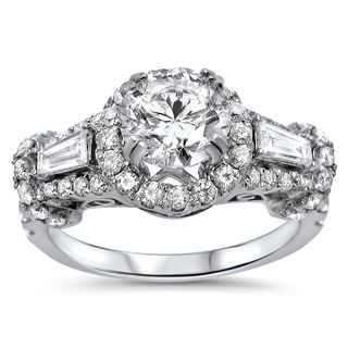 Noori 18k White Gold 1 4/5ct TDW Round and Baguette Diamond Engagement Ring