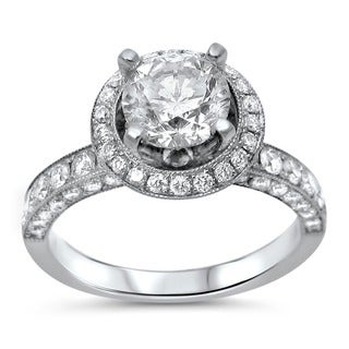 Noori 18k White Gold 2ct TDW Clarity-enhanced Diamond Engagement Ring