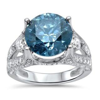 Noori 18k White Gold 5 2/5ct TDW Blue Diamond Engagement Ring