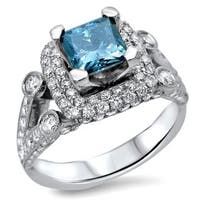 Noori 18k White Gold 2 1/3ct TDW Blue Diamond Engagement Ring