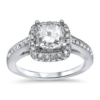 Noori 18k White Gold 1 1/2ct TDW Clarity-enhanced Cushion Diamond Engagement Ring