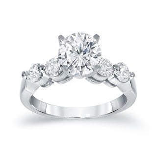 Auriya 14k White Gold 1 3/4ct TDW Five Stone Engagement Ring (H-I, SI2-SI3)