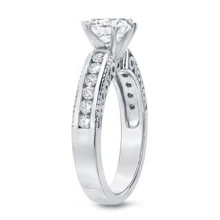 Auriya 14k White Gold 1 1/2ct TDW Vintage Filigree Diamond Solitaire Engagement Ring