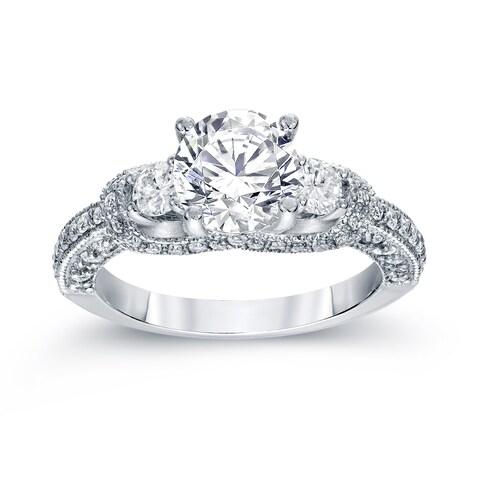 Auriya 14k White Gold 2ct TDW Vintage 3-Stone Diamond Engagement Ring