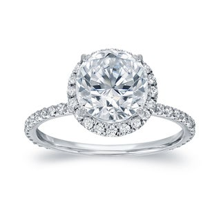 Auriya 18k White Gold 2 3/5ct TDW Certified Round Cut Diamond Halo Engagement Ring (G-H, SI1-SI2)
