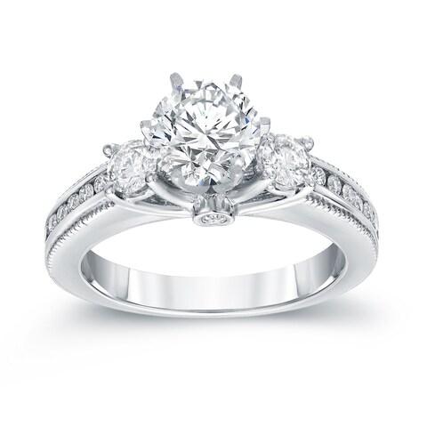 Auriya 14k White Gold 1 1/2ct TDW Vintage 3-Stone Diamond Engagement Ring