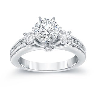 Auriya 14k White Gold 1 1/2ct TDW Round Cut Diamond Three Stone Engagement Ring