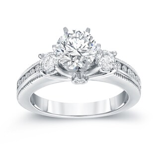 Auriya 14k White Gold 1 1/2ct TDW Vintage 3-Stone Diamond Engagement Ring