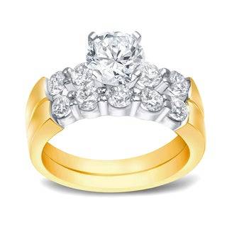 Auriya 14k Two-Tone Gold 2ct TDW Certified Round Cut Diamond Bridal Ring Set (H-I, SI1-SI2)