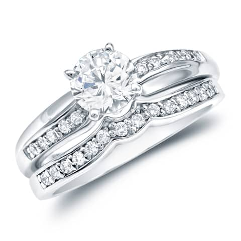 Auriya 14k Gold 14k White Gold 3/4ctw Classic Round Diamond Engagement Ring Set