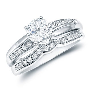 Auriya 14k White Gold 3/4ct TDW Certified Round-cut Diamond Bridal Ring Set