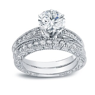 Auriya 14k White Gold 1 1/2ct TDW Certified Round-cut Diamond Vintage Style Bridal Set