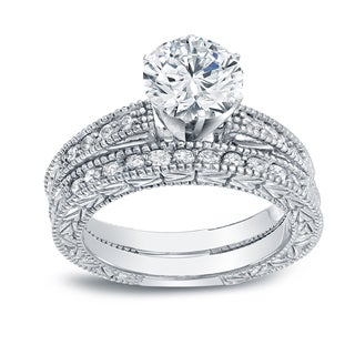 Auriya 14k White Gold 1 1/2ct TDW Certified Round-cut Diamond Vintage Style Bridal Set (I-J, SI2-I1)