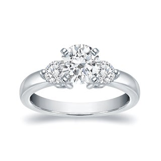Auriya 14k White Gold 3/4ct TDW 3 Stone Round Engagement Ring