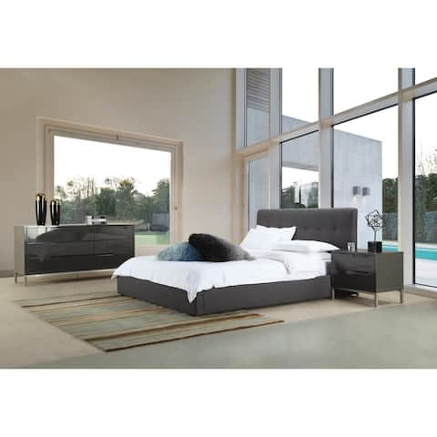 Aurelle Home Modern Grey Upholstered Storage Bed