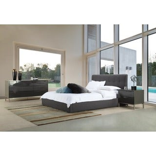 Aurelle Home Grey Upholstered Storage Bed
