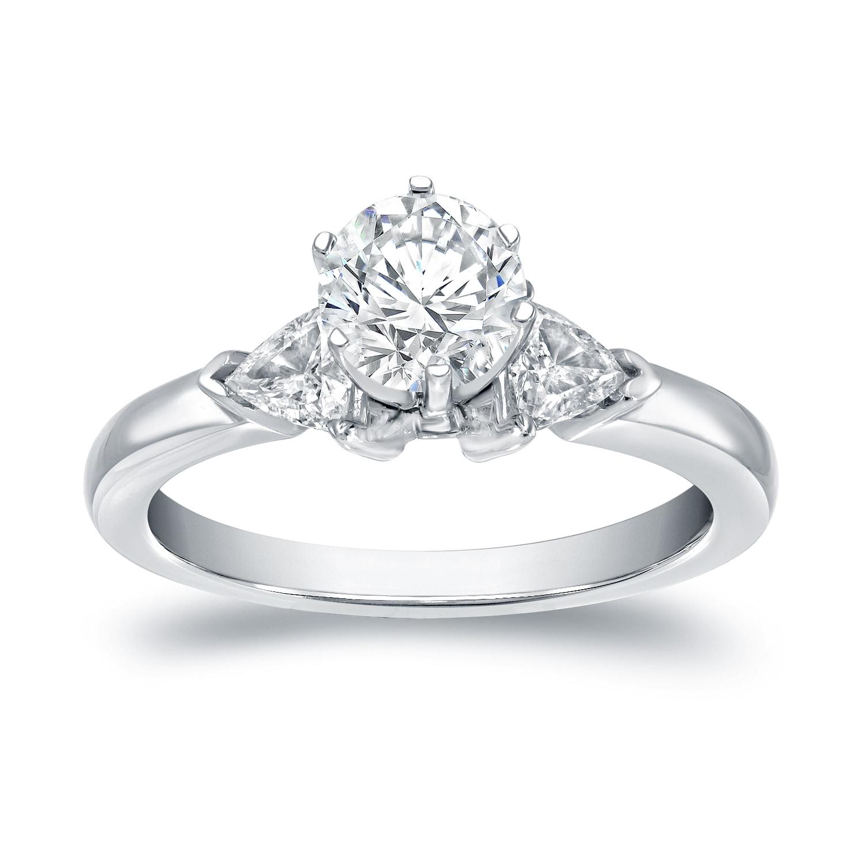 Auriya 14k White Gold 1ct TDW 3-Stone Diamond Engagement ...