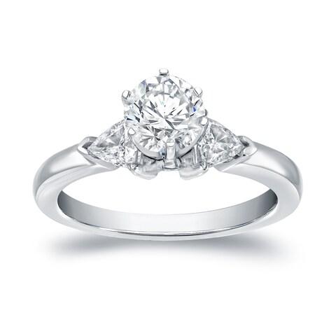 Auriya 14k White Gold 1ct TDW 3-Stone Diamond Engagement Ring