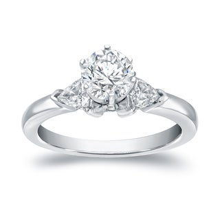 Auriya 14k White Gold 1ct TDW 3-Stone Diamond Engagement Ring