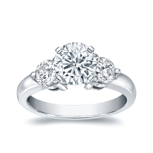 ddf0dd177d3 Shop Auriya 1 1 2ctw Round 3-Stone Diamond Ring 14k White Gold ...