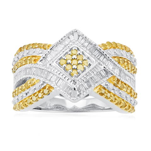 Sterling Silver 1.00ct TDW Yellow and White Diamond Twist Ring