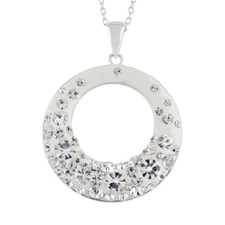 Sunstone Sterling Silver Crystal Resin Open Circle Pendant Necklace