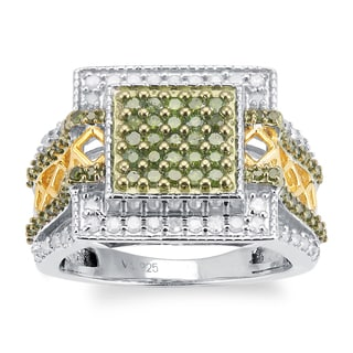 Sterling Silver 1.00ct TDW Green and White Diamond Square Ring (H-I, I2-I3)