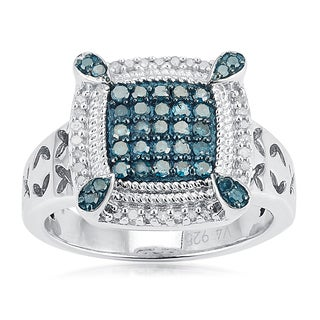 Sterling Silver 1/2ct TDW Blue and White Diamond Frame Ring
