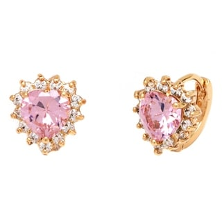 Peermont Jewelry 18k Goldplated Pink Austrian Crystal Heart Earrings