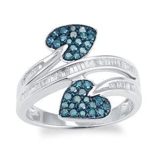 Sterling Silver 3/4ct TDW Blue and White Diamond Double Heart Ring (H-I,I2-I3)